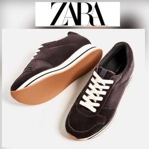 NWT Zara Velvet Platform Sneakers - 8